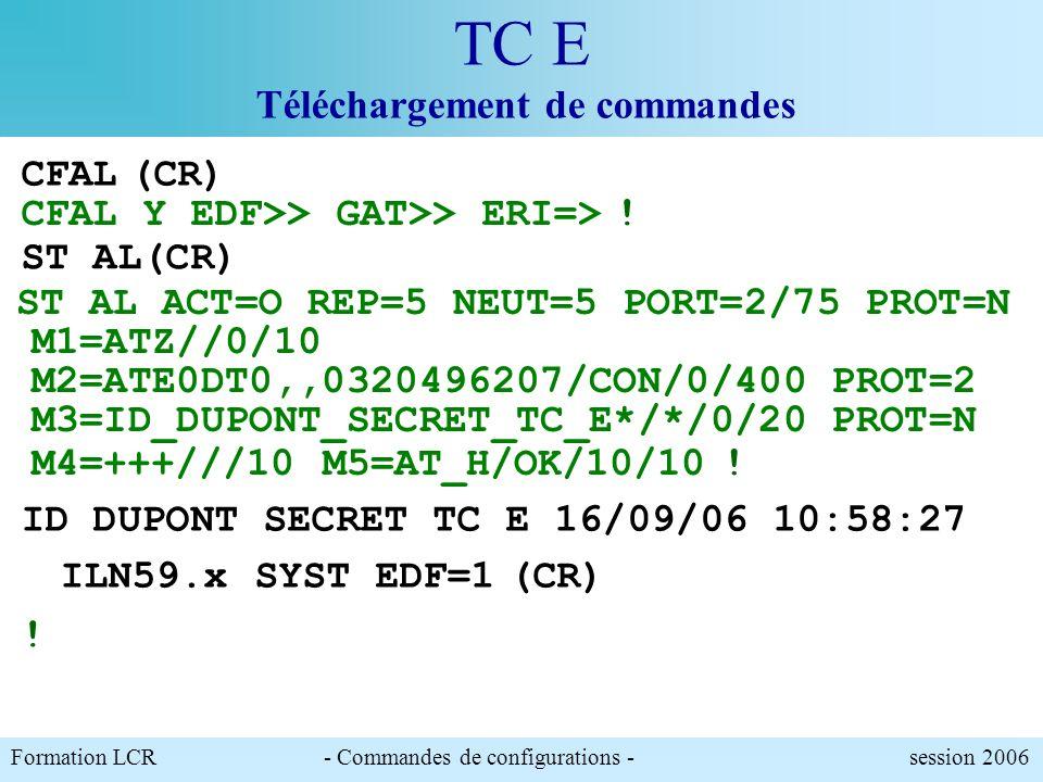 Formation LCR- Commandes de configurations - session 2006 TC E Téléchargement de commande Pour émettre spontanément un message dalerte configuré par l