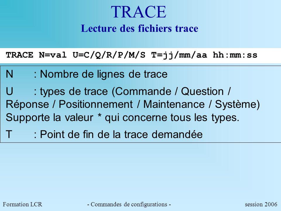 Formation LCR- Commandes de configurations - session 2006 TC E Téléchargement de commandes CFAL ( CR) ST AL(CR) ST AL ACT=O REP=5 NEUT=5 PORT=2/75 PRO