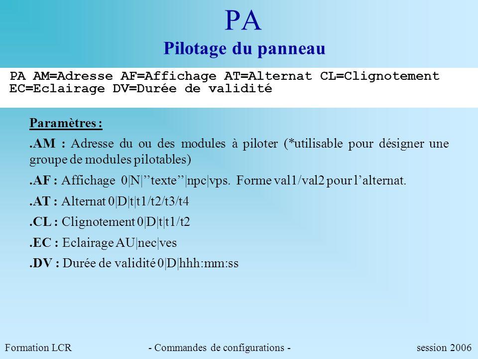 Le jeu de commandes de positionnement et de lecture du PMV Formation LCR session 2006 PA P1 PM PE PS