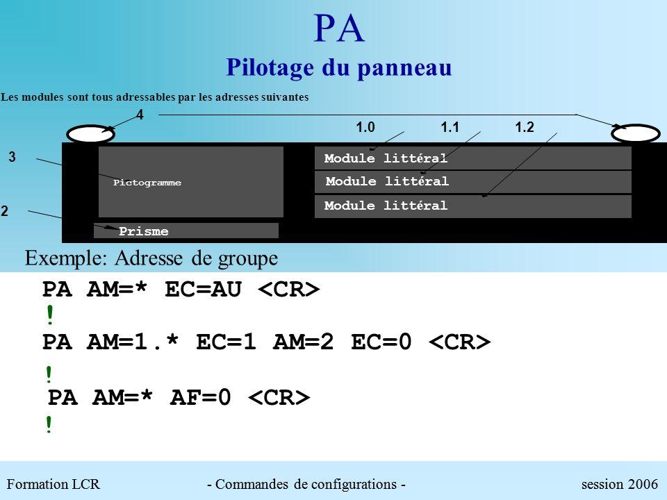 PA Pilotage du panneau Paramètres :.AM : Adresse du ou des modules à piloter (*utilisable pour désigner une groupe de modules pilotables).AF : Afficha