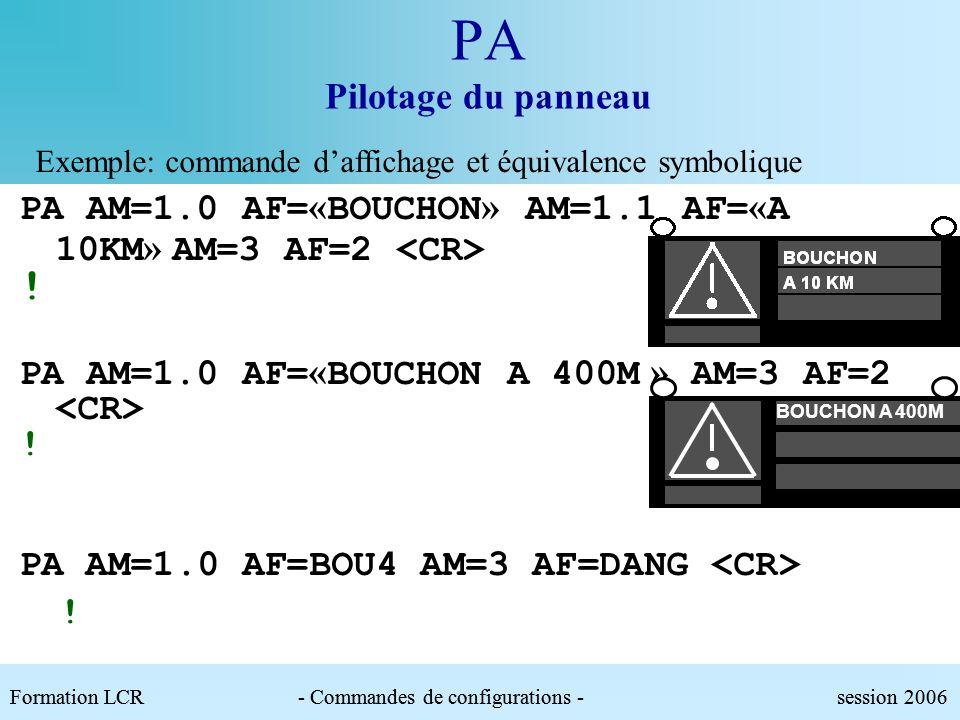 PA Pilotage du panneau Exemple: Adresse de groupe PA AM=* EC=AU ! PA AM=1.* EC=1 AM=2 EC=0 ! 1.2 Les modules sont tous adressables par les adresses su