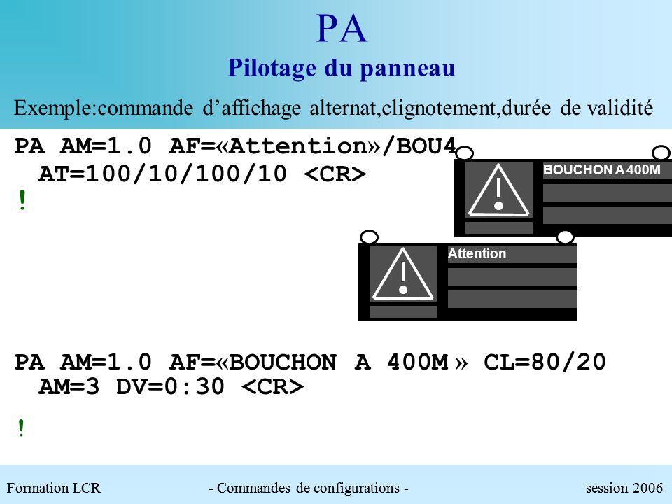 Formation LCR- Commandes de configurations - session 2006 PA Pilotage du panneau Exemple: commande daffichage et équivalence symbolique PA AM=1.0 AF=