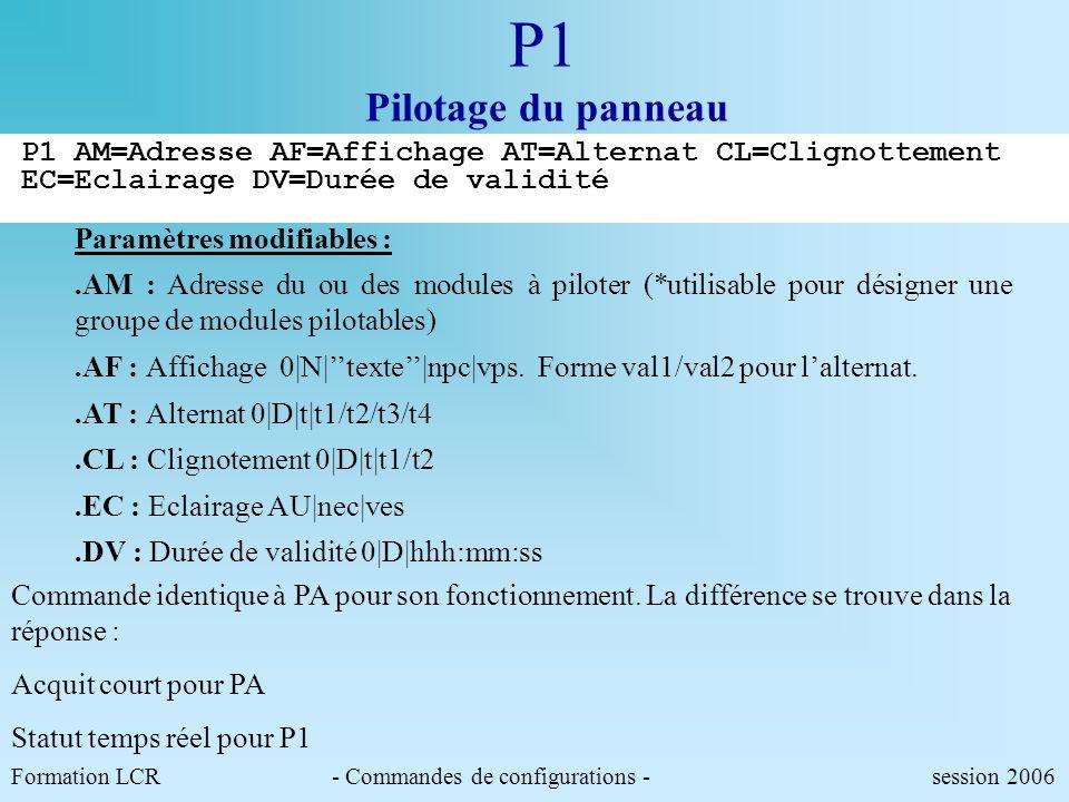 Formation LCR- Commandes de configurations - session 2006 PA Pilotage du panneau Exemple:commande daffichage alternat,clignotement,durée de validité P