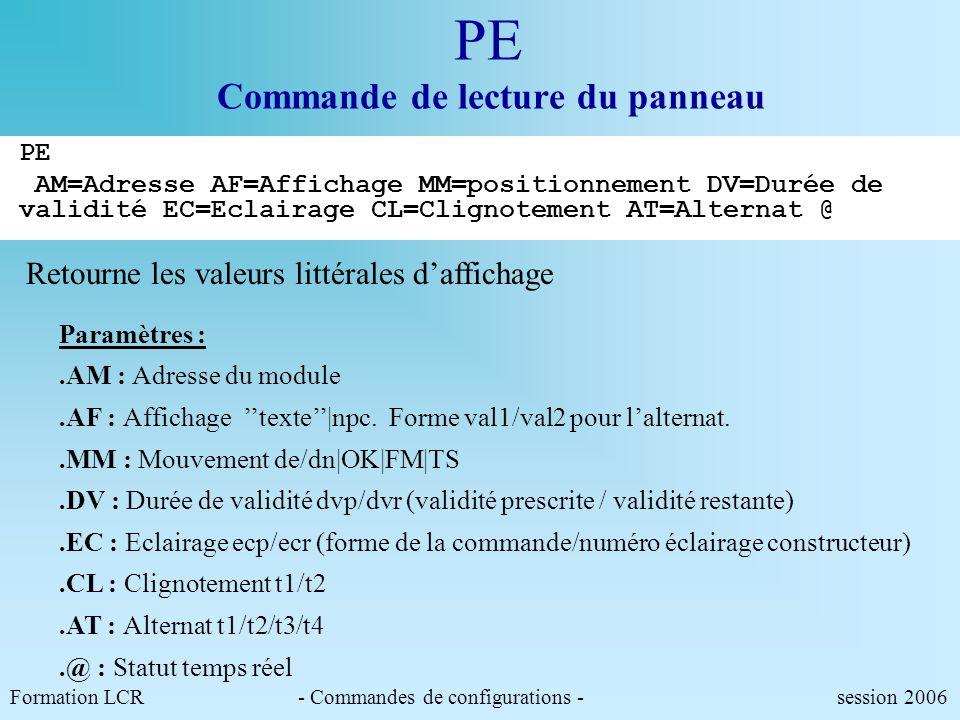 PM Pilotage du panneau par macro-commande PM Nom_macro Formation LCR- Commandes de configurations - session 2006 CFMP <CR> NEUTRE/1 PA AM=*.* AF=0<LF>