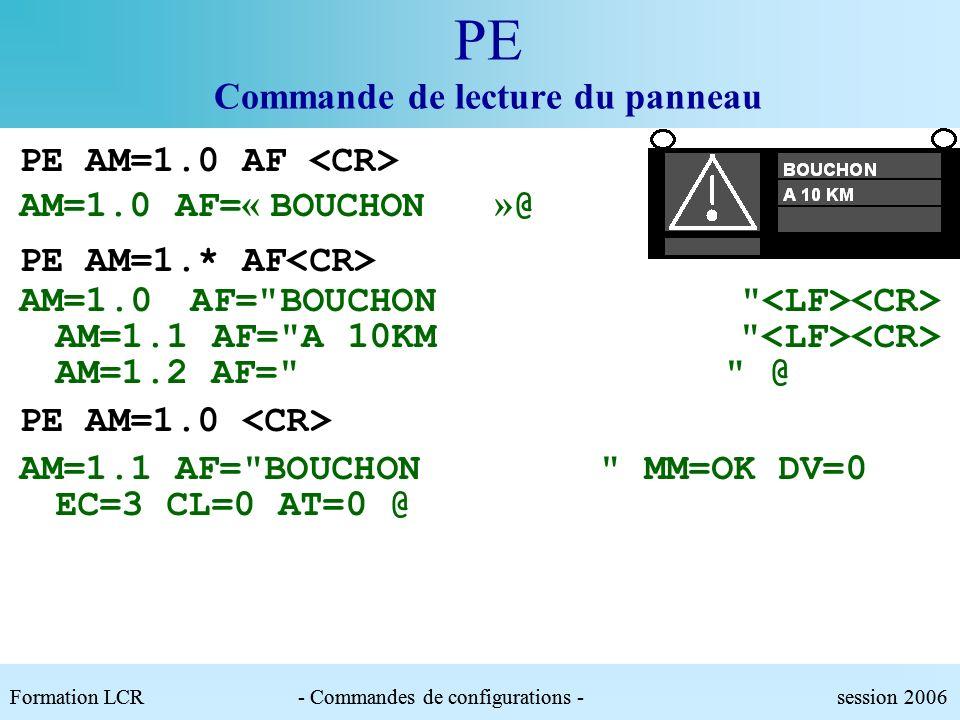 PE Commande de lecture du panneau Paramètres :.AM : Adresse du module.AF : Affichage texte|npc. Forme val1/val2 pour lalternat..MM : Mouvement de/dn|O