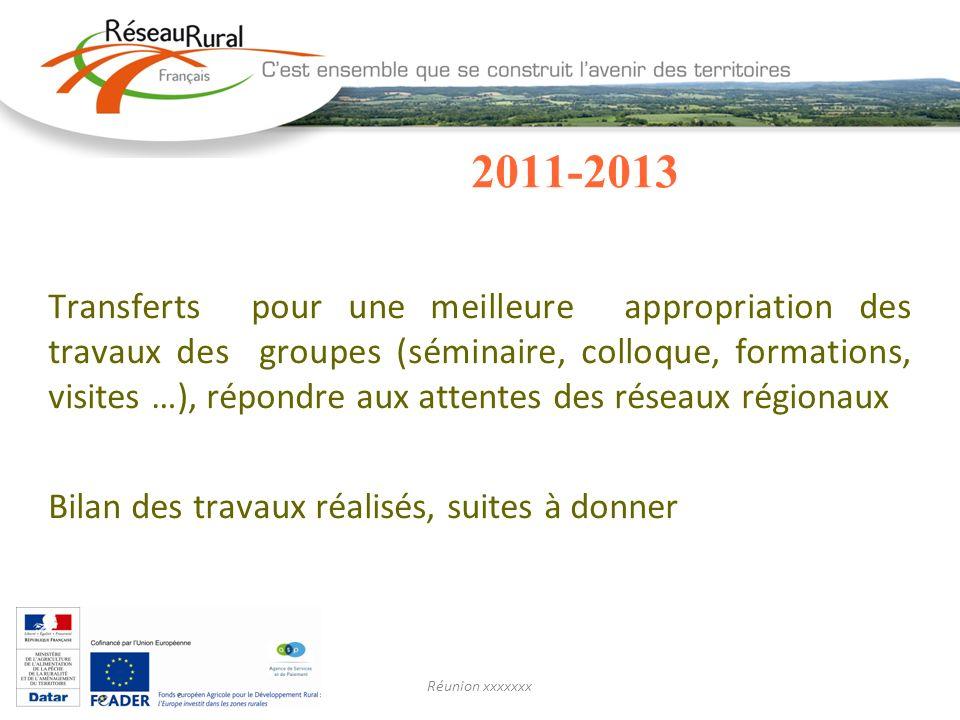 2011-2013 Transferts pour une meilleure appropriation des travaux des groupes (séminaire, colloque, formations, visites …), répondre aux attentes des