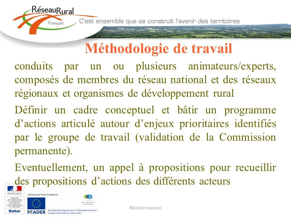 Réunion xxxxxxx Méthodologie de travail conduits par un ou plusieurs animateurs/experts, composés de membres du réseau national et des réseaux régiona