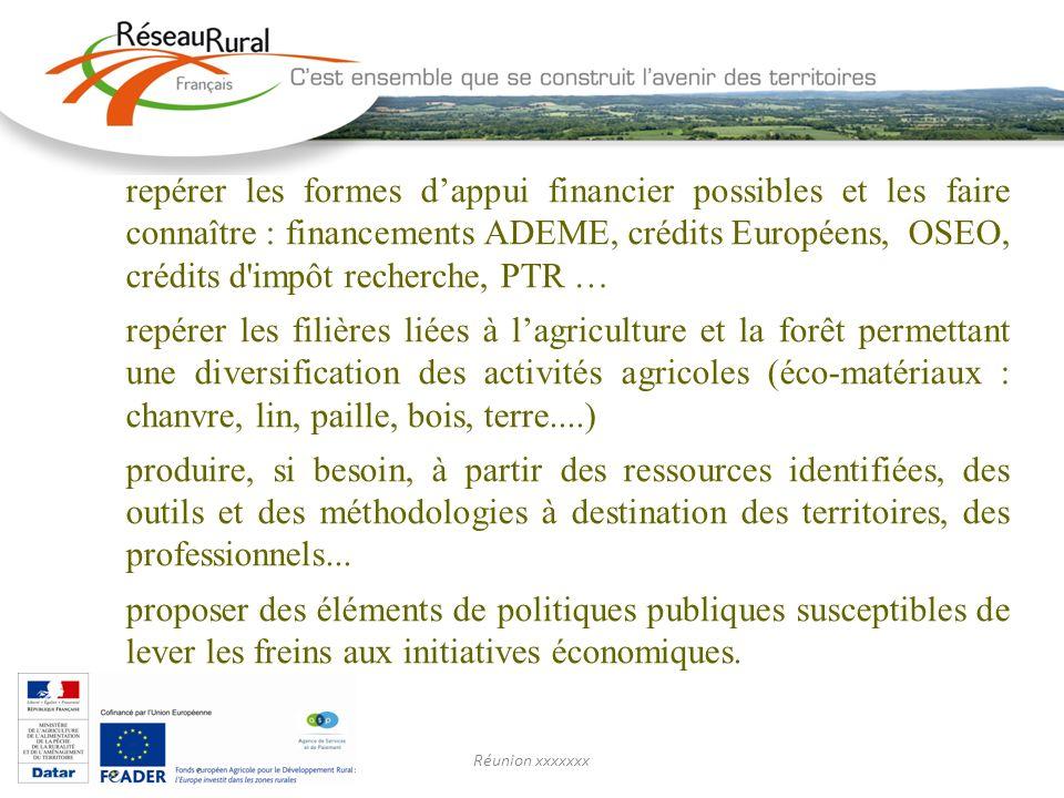 Réunion xxxxxxx repérer les formes dappui financier possibles et les faire connaître : financements ADEME, crédits Européens, OSEO, crédits d'impôt re