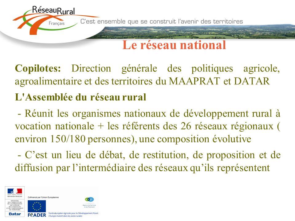 Le réseau national Copilotes: Direction générale des politiques agricole, agroalimentaire et des territoires du MAAPRAT et DATAR L'Assemblée du réseau
