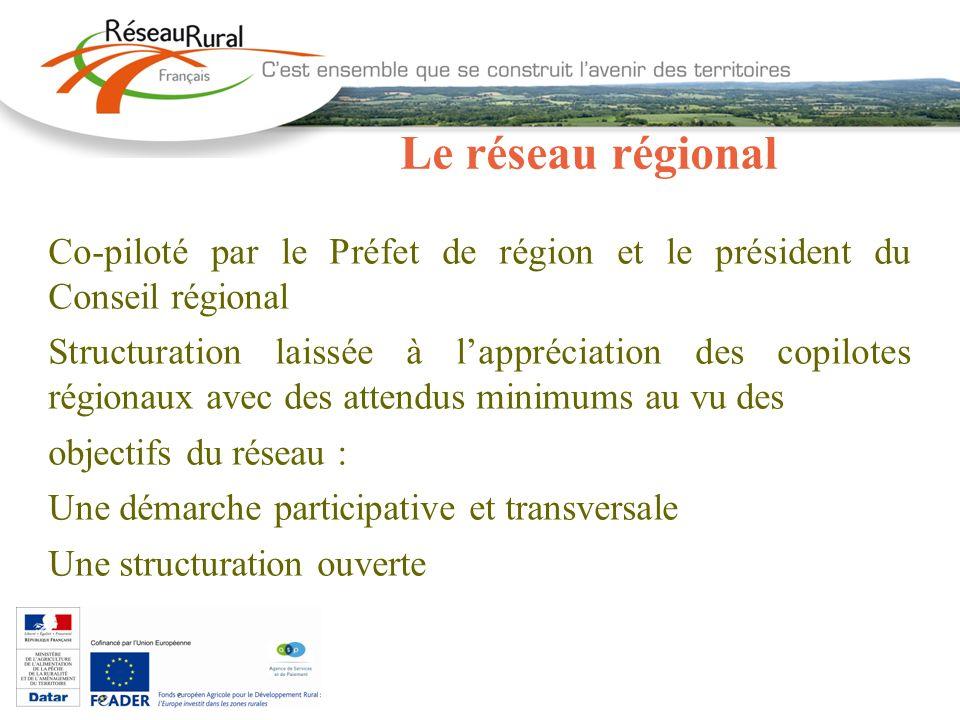 Le réseau régional Co-piloté par le Préfet de région et le président du Conseil régional Structuration laissée à lappréciation des copilotes régionaux
