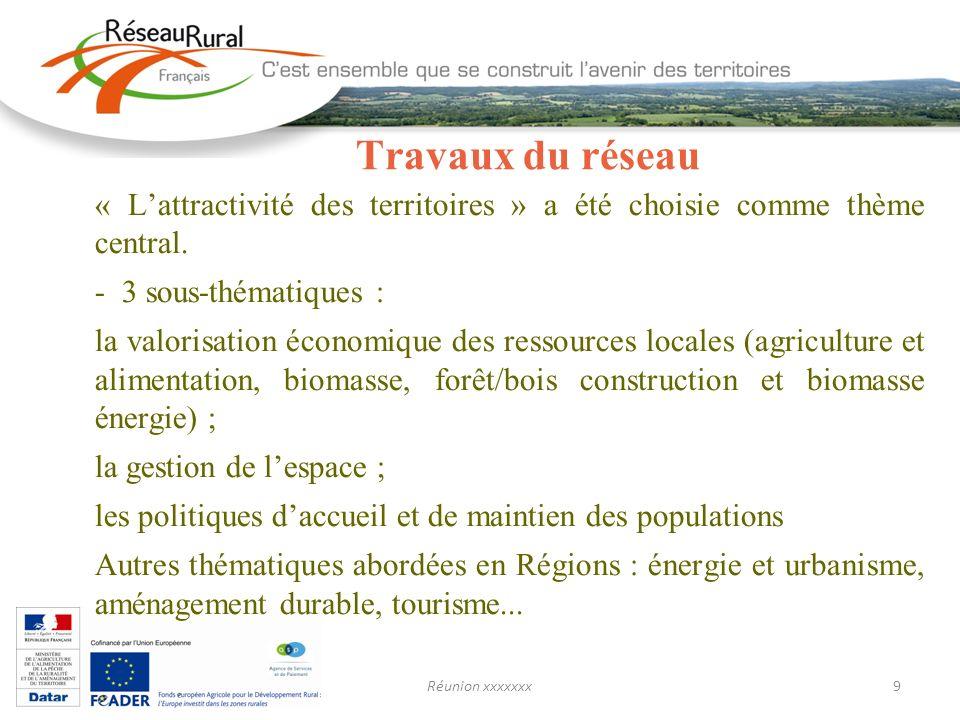 Réunion xxxxxxx9 Travaux du réseau « Lattractivité des territoires » a été choisie comme thème central. - 3 sous-thématiques : la valorisation économi