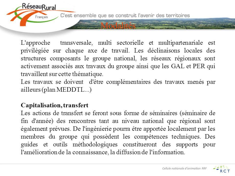 Cellule nationale danimation RRF Modalités L approche transversale, multi sectorielle et multipartenariale est privilégiée sur chaque axe de travail.