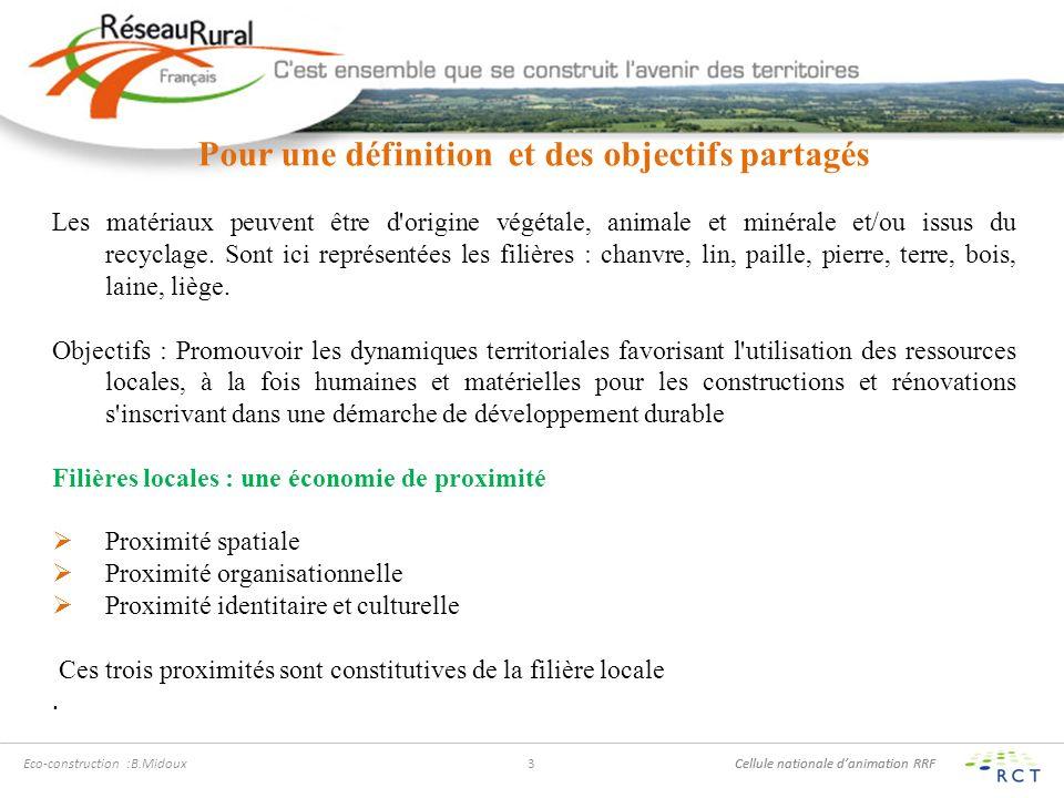 Cellule nationale danimation RRF Eco-construction :B.Midoux3 Pour une définition et des objectifs partagés Les matériaux peuvent être d origine végétale, animale et minérale et/ou issus du recyclage.