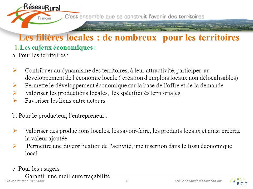 Cellule nationale danimation RRF Eco-construction :B.Midoux4 Les filières locales : de nombreux pour les territoires 1.Les enjeux économiques : a.