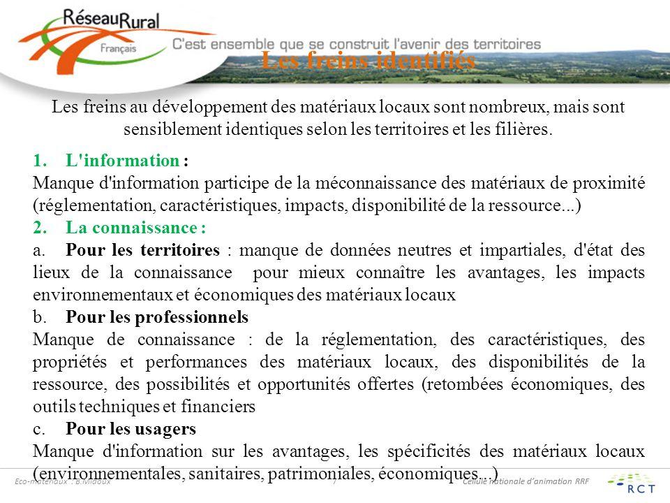 Cellule nationale danimation RRF Eco-matériaux : B.Midoux7 Les freins identifiés Les freins au développement des matériaux locaux sont nombreux, mais sont sensiblement identiques selon les territoires et les filières.