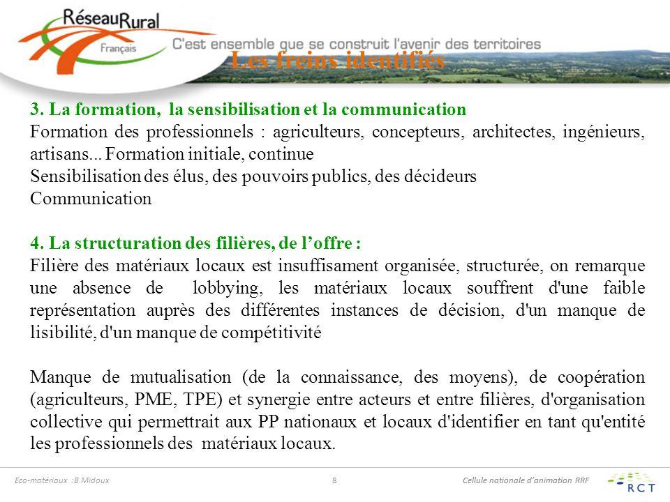 Cellule nationale danimation RRF Eco-maériaux :B.Midoux 9 Les freins identifiés 5.