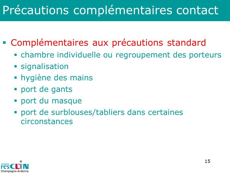 15 Précautions complémentaires contact Complémentaires aux précautions standard chambre individuelle ou regroupement des porteurs signalisation hygièn