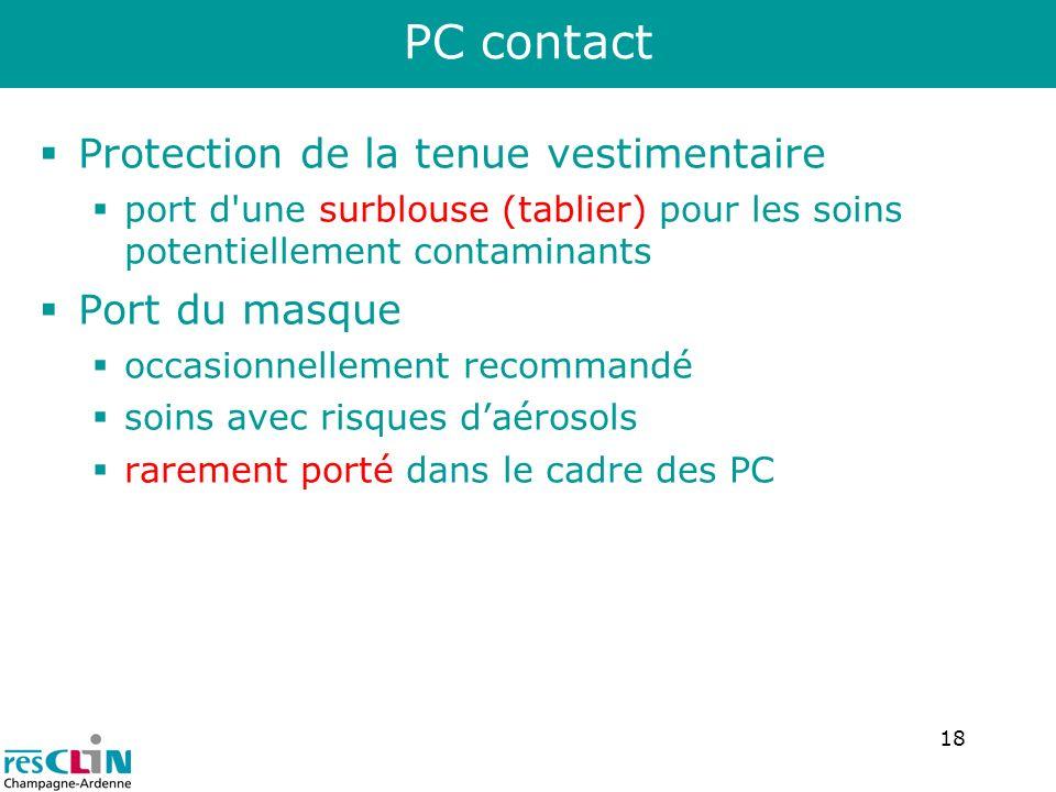 18 Protection de la tenue vestimentaire port d'une surblouse (tablier) pour les soins potentiellement contaminants Port du masque occasionnellement re