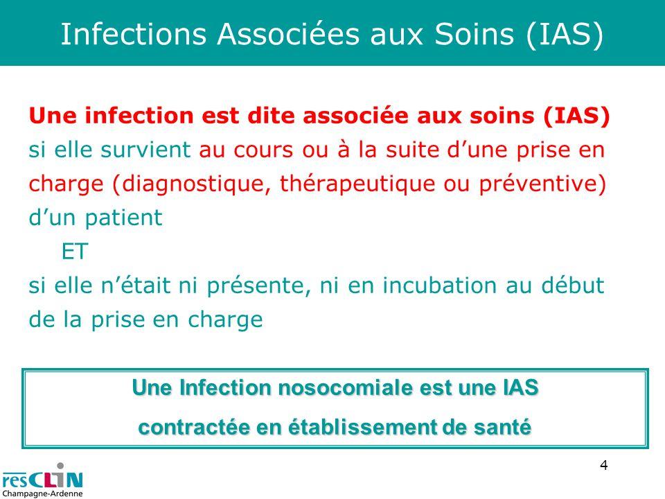 4 Infections Associées aux Soins (IAS) Une infection est dite associée aux soins (IAS) si elle survient au cours ou à la suite dune prise en charge (d