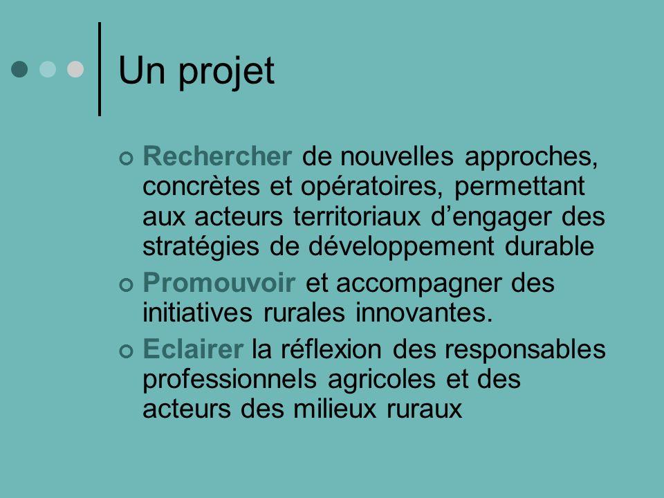 Un projet Rechercher de nouvelles approches, concrètes et opératoires, permettant aux acteurs territoriaux dengager des stratégies de développement durable Promouvoir et accompagner des initiatives rurales innovantes.