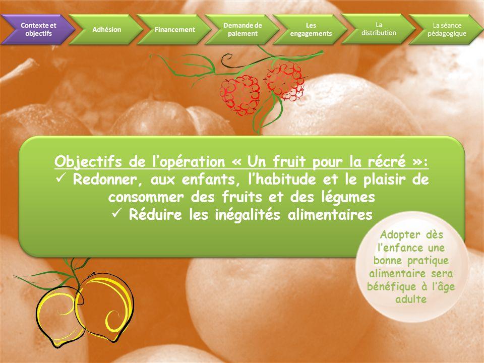 Objectifs de lopération « Un fruit pour la récré »: Redonner, aux enfants, lhabitude et le plaisir de consommer des fruits et des légumes Réduire les inégalités alimentaires Adopter dès lenfance une bonne pratique alimentaire sera bénéfique à lâge adulte