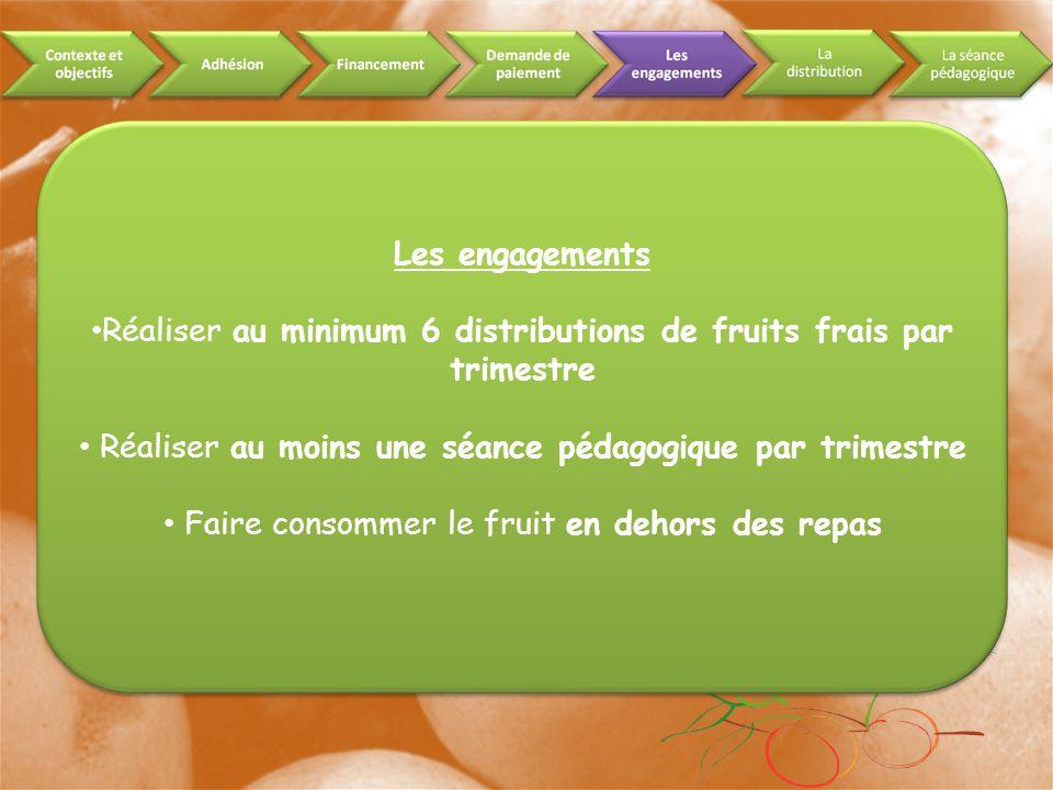 Les engagements Réaliser au minimum 6 distributions de fruits frais par trimestre Réaliser au moins une séance pédagogique par trimestre Faire consommer le fruit en dehors des repas
