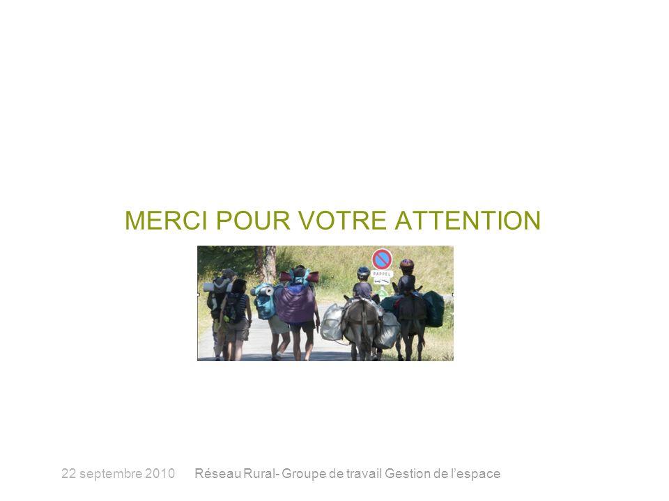 MERCI POUR VOTRE ATTENTION 22 septembre 2010Réseau Rural- Groupe de travail Gestion de lespace