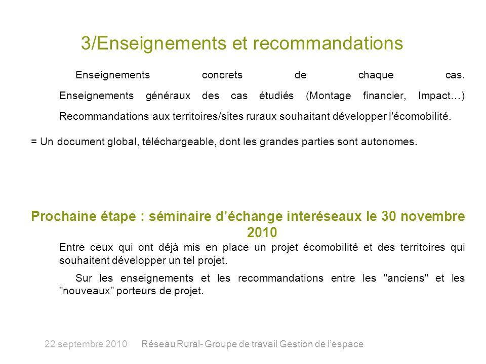 3/Enseignements et recommandations Enseignements concrets de chaque cas.
