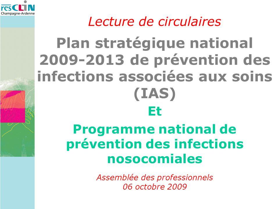 Lecture de circulaires Plan stratégique national 2009-2013 de prévention des infections associées aux soins (IAS) Et Programme national de prévention