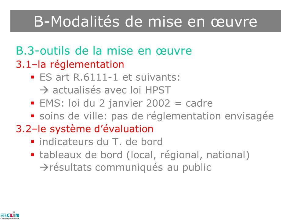 B.3-outils de la mise en œuvre 3.1–la réglementation ES art R.6111-1 et suivants: actualisés avec loi HPST EMS: loi du 2 janvier 2002 = cadre soins de