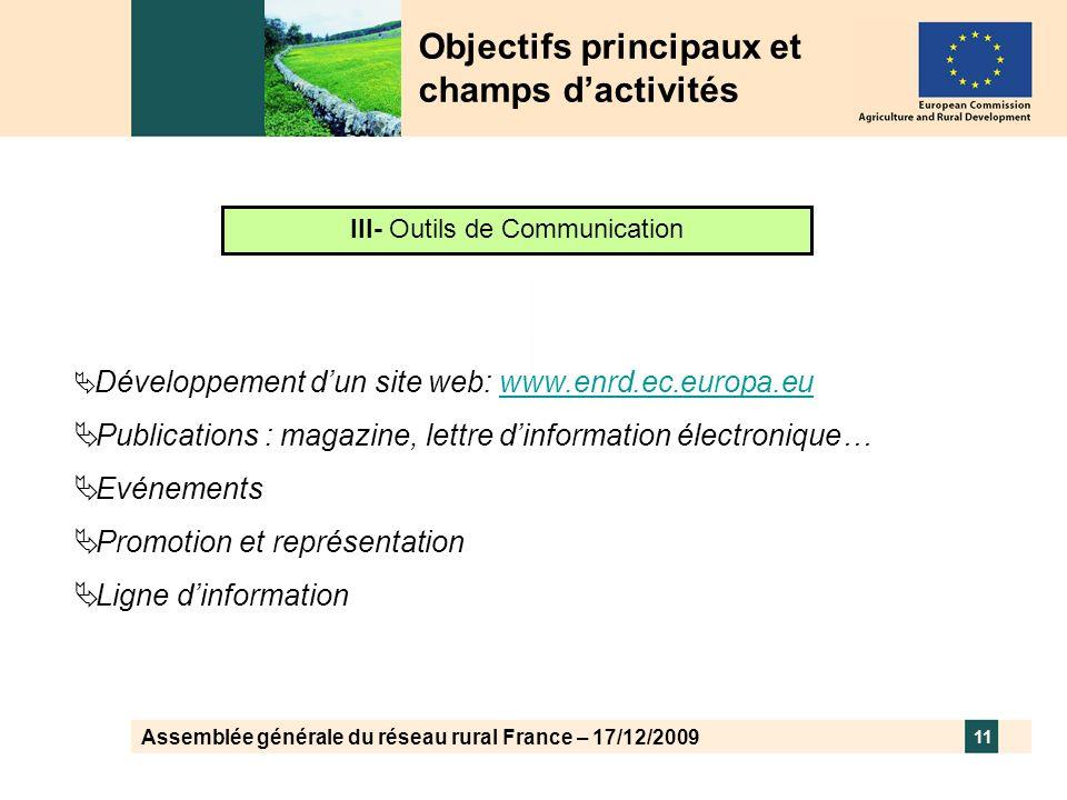 Assemblée générale du réseau rural France – 17/12/2009 11 Objectifs principaux et champs dactivités III- Outils de Communication Développement dun sit