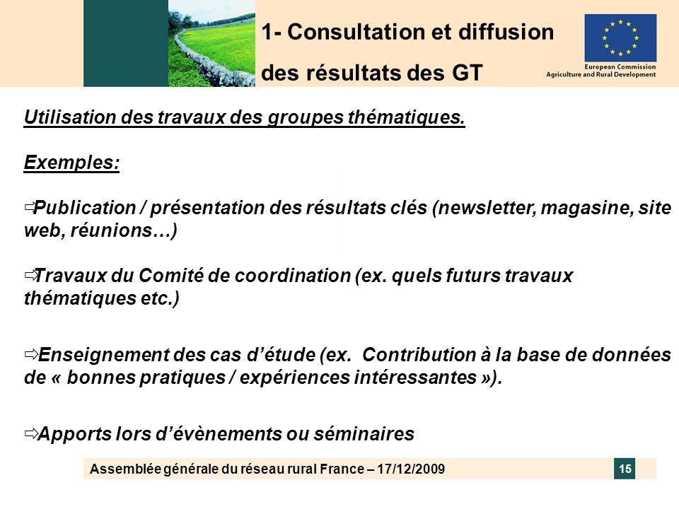 Assemblée générale du réseau rural France – 17/12/2009 15 Utilisation des travaux des groupes thématiques. Exemples: Publication / présentation des ré