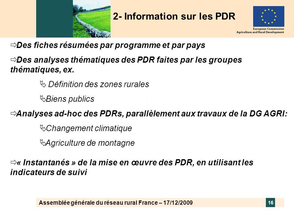 Assemblée générale du réseau rural France – 17/12/2009 16 Des fiches résumées par programme et par pays Des analyses thématiques des PDR faites par le