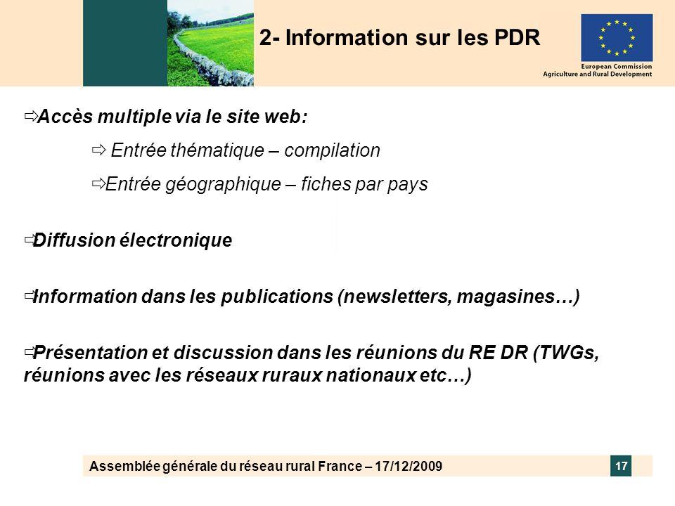 Assemblée générale du réseau rural France – 17/12/2009 17 Accès multiple via le site web: Entrée thématique – compilation Entrée géographique – fiches