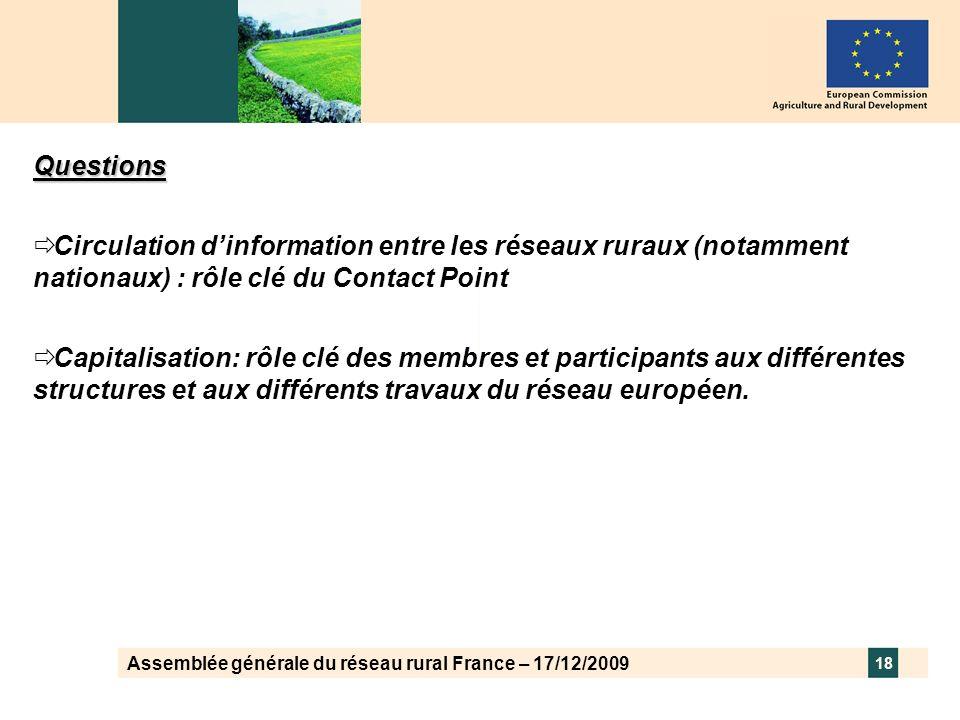 Assemblée générale du réseau rural France – 17/12/2009 18 Questions Circulation dinformation entre les réseaux ruraux (notamment nationaux) : rôle clé