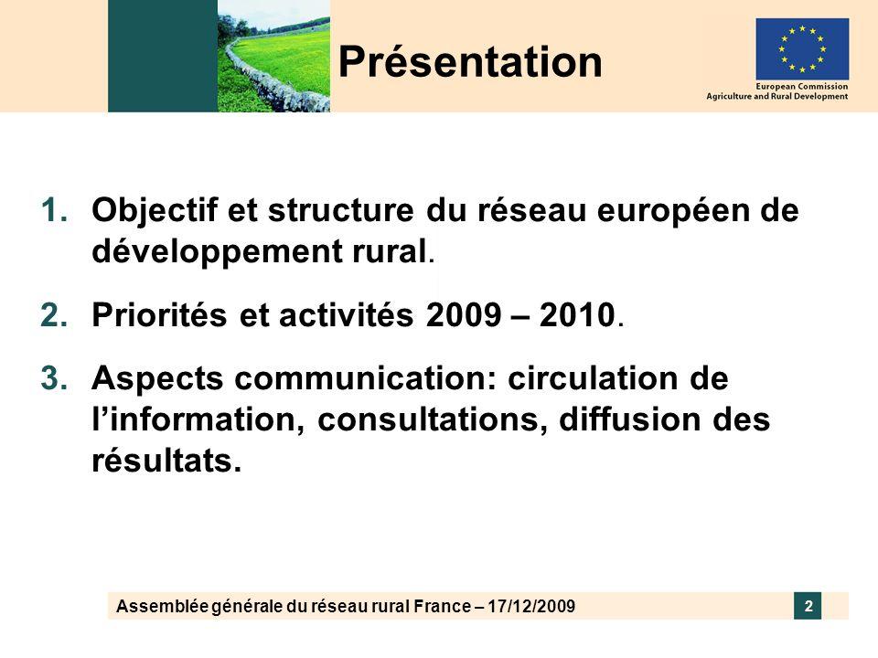 Assemblée générale du réseau rural France – 17/12/2009 2 Présentation Objectif et structure du réseau européen de développement rural. Priorités et ac