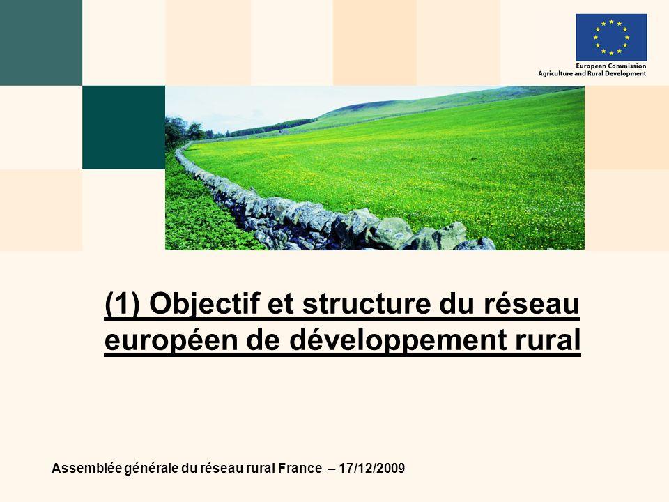 Assemblée générale du réseau rural France – 17/12/2009 4 Objectif Contribuer à accroître lefficacité de la mise en œuvre de la politique européenne de développement rural par la mise en réseau des acteurs et bénéficiaires de cette politique.