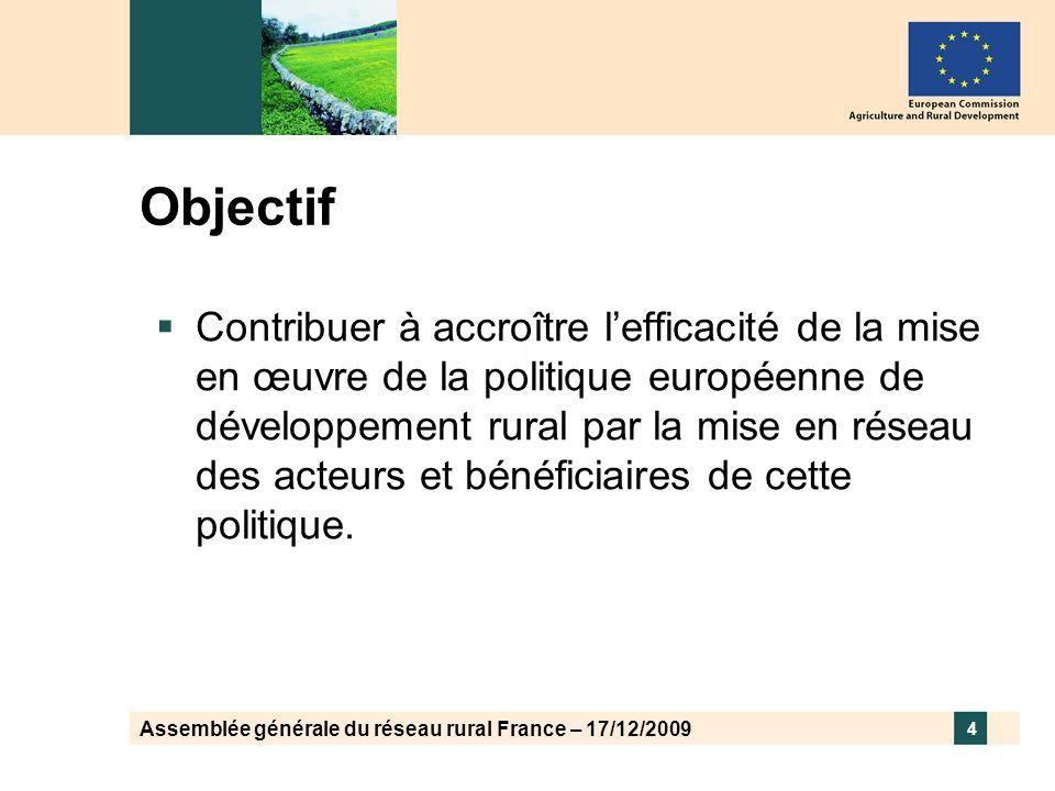 Assemblée générale du réseau rural France – 17/12/2009 4 Objectif Contribuer à accroître lefficacité de la mise en œuvre de la politique européenne de