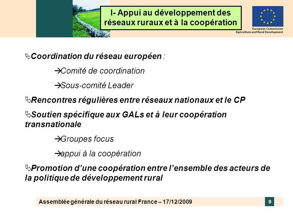 Assemblée générale du réseau rural France – 17/12/2009 9 I- Appui au développement des réseaux ruraux et à la coopération Coordination du réseau europ