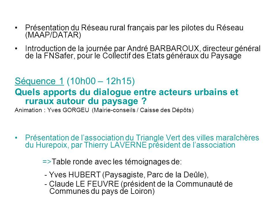 Présentation du Réseau rural français par les pilotes du Réseau (MAAP/DATAR) Introduction de la journée par André BARBAROUX, directeur général de la F