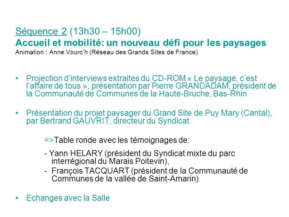 Séquence 2 (13h30 – 15h00) Accueil et mobilité: un nouveau défi pour les paysages Animation : Anne Vourch (Réseau des Grands Sites de France) Projecti