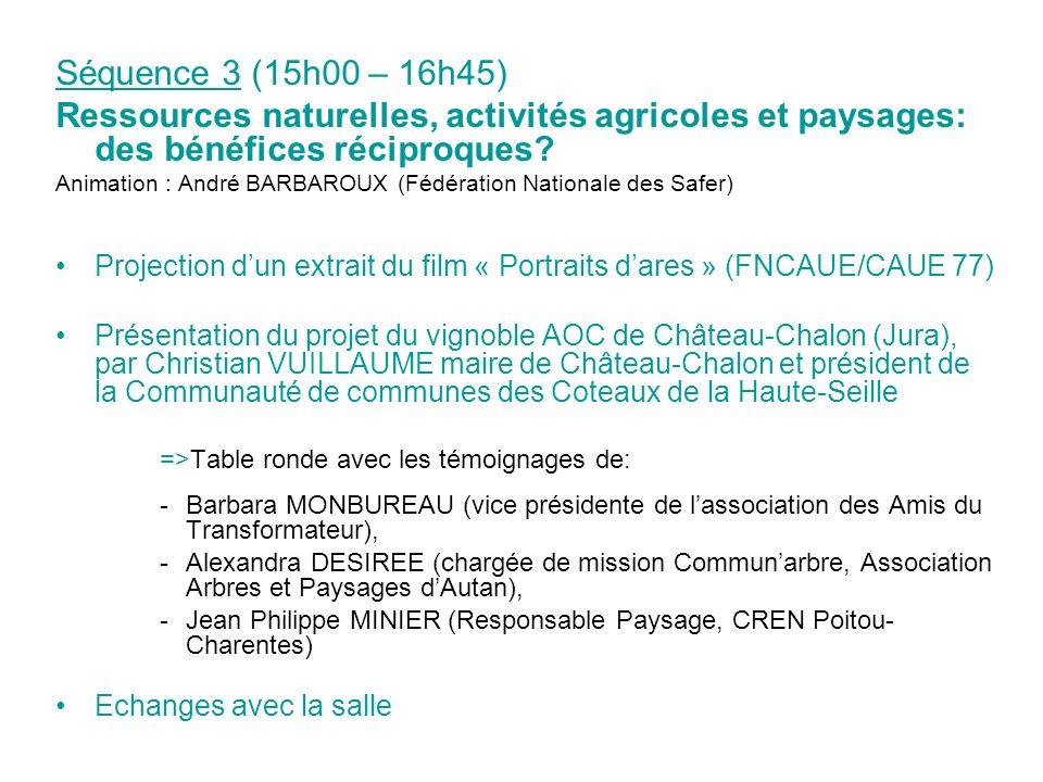 Séquence 3 (15h00 – 16h45) Ressources naturelles, activités agricoles et paysages: des bénéfices réciproques? Animation : André BARBAROUX (Fédération