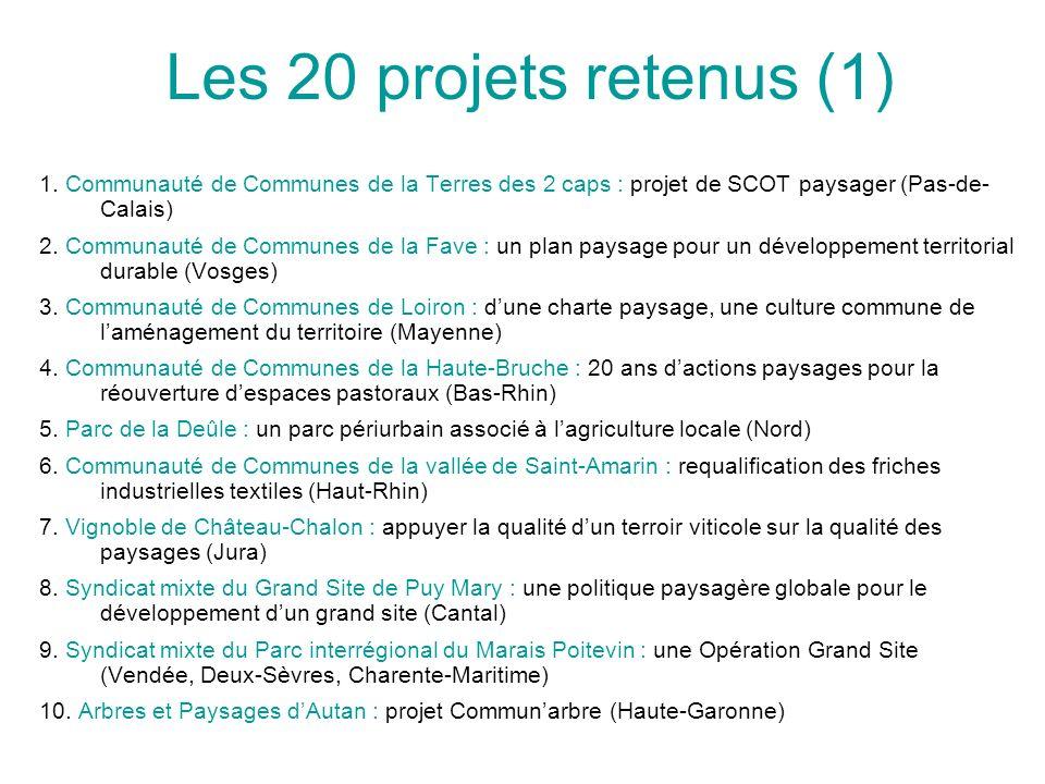 Les 20 projets retenus (1) 1. Communauté de Communes de la Terres des 2 caps : projet de SCOT paysager (Pas-de- Calais) 2. Communauté de Communes de l