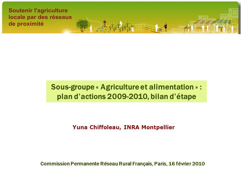 Sous-groupe « Agriculture et alimentation » : plan dactions 2009-2010, bilan détape Yuna Chiffoleau, INRA Montpellier Commission Permanente Réseau Rur