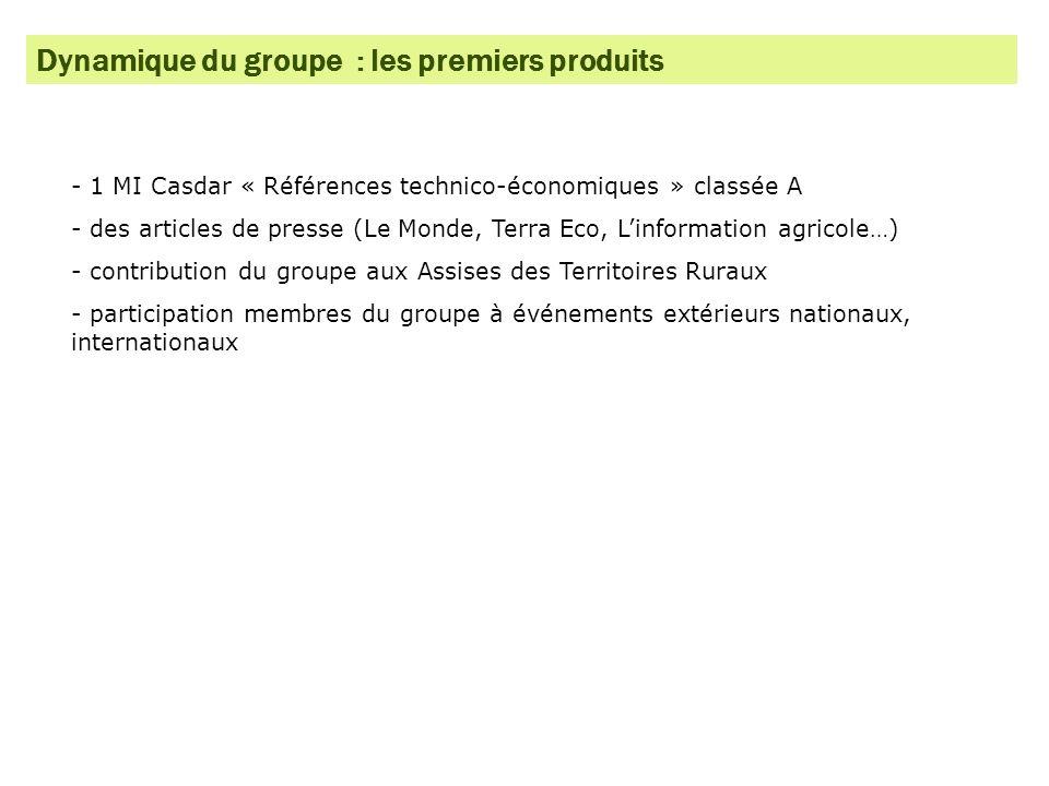 Dynamique du groupe : les premiers produits - 1 MI Casdar « Références technico-économiques » classée A - des articles de presse (Le Monde, Terra Eco,