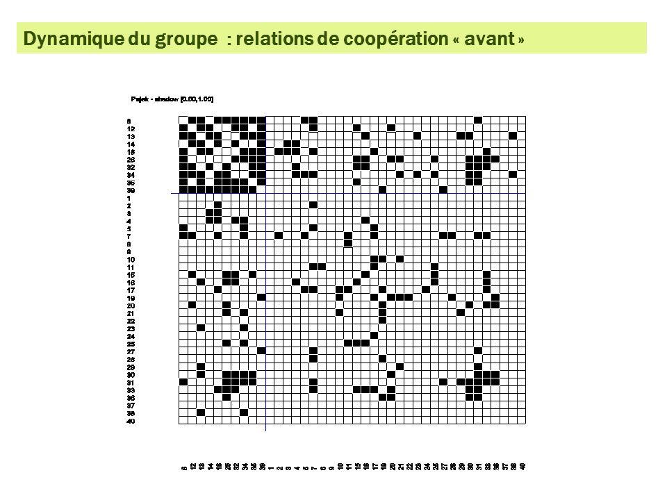 Dynamique du groupe : relations de connaissance « avant »