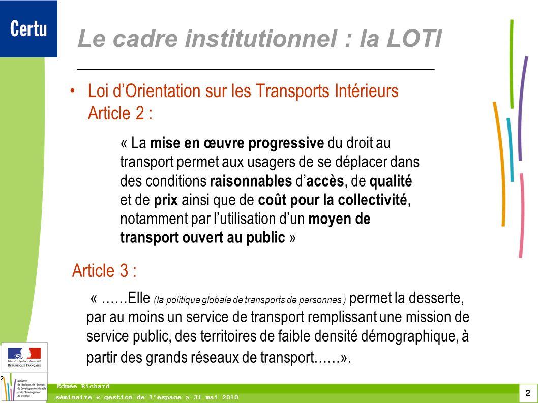2 séminaire « gestion de lespace » 31 mai 2010 Edmée Richard 2 Le cadre institutionnel : la LOTI Loi dOrientation sur les Transports Intérieurs Articl