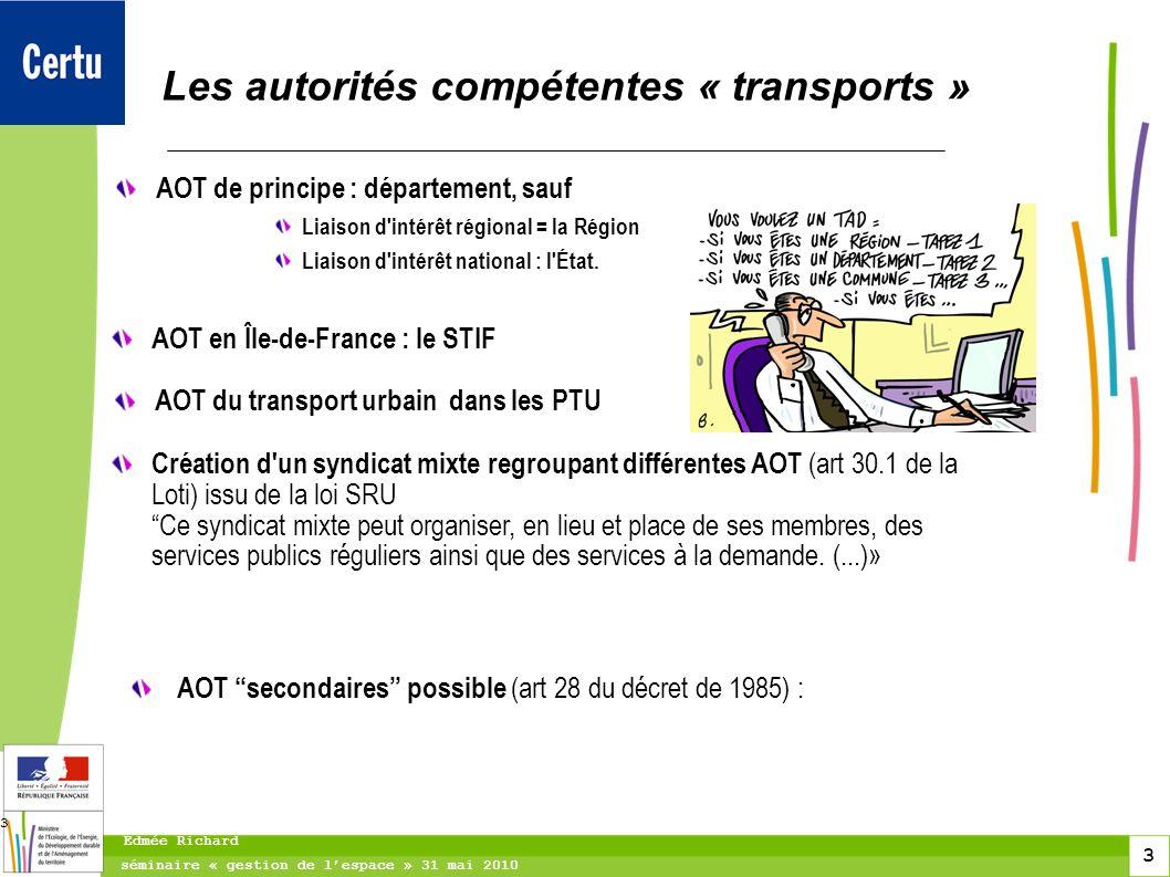 3 séminaire « gestion de lespace » 31 mai 2010 Edmée Richard 3 Les autorités compétentes « transports » AOT de principe : département, sauf Liaison d'