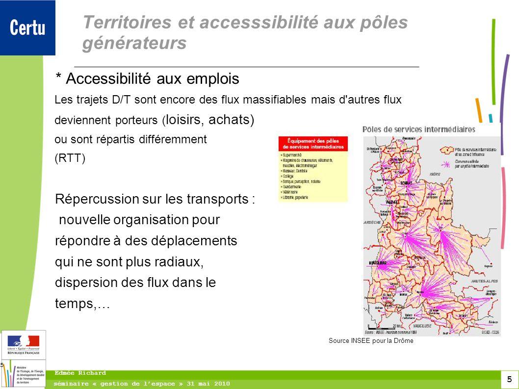 5 séminaire « gestion de lespace » 31 mai 2010 Edmée Richard 5 Territoires et accesssibilité aux pôles générateurs * Accessibilité aux emplois Les tra