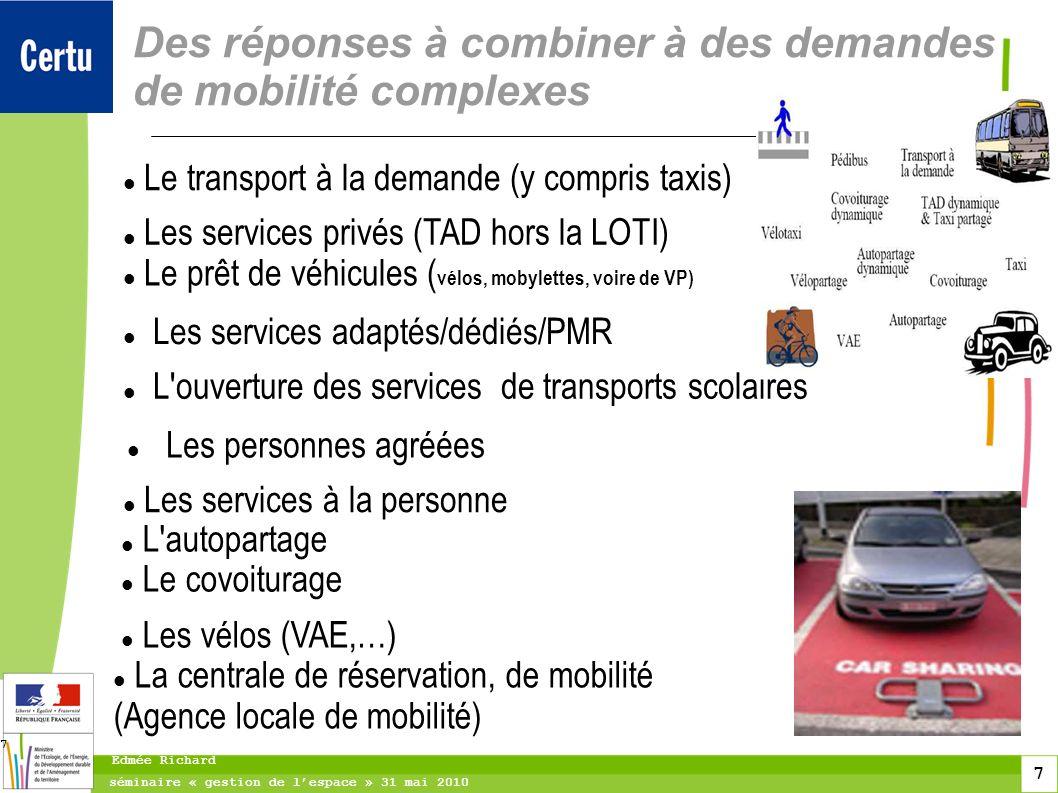 7 séminaire « gestion de lespace » 31 mai 2010 Edmée Richard 7 Des réponses à combiner à des demandes de mobilité complexes Le transport à la demande